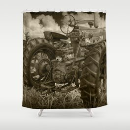 Abandoned Old Farmall Tractor in Sepia Tone Shower Curtain
