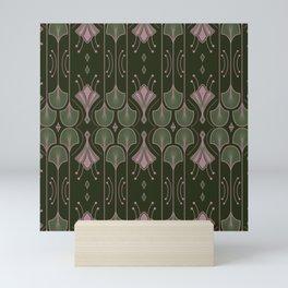 Art Deco Botanical Leaves Dark Green Mini Art Print