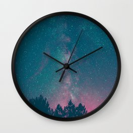 Blue Purple Pink Silhouette Milky Way Galaxy Forest Wall Clock