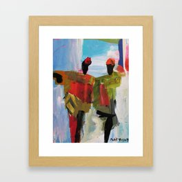 People Figure the World Abstract Art Contemporary Blue Red Green Black Sky Framed Art Print