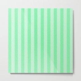 Lanai Lime Green - Acid Green Herringbone Pattern Metal Print