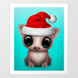 Christmas Pig Wearing a Santa Hat Art Print