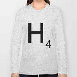 Letter H - Custom Scrabble Letter Tile Art - Scrabble H Long Sleeve T-shirt