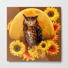 OWL MOON & SUNFLOWERS BROWN ART Metal Print