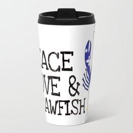Peace, Love & Crawfish Travel Mug