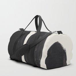 Mid Century Modern Minimalist Abstract Art Brush Strokes Black & White Ink Art Tribal Pebbles Duffle Bag