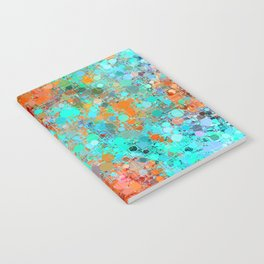 psychedelic geometric circle pattern and square pattern abstract in orange and blue Notebook