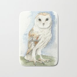 Barn Owl - Watercolor Bath Mat