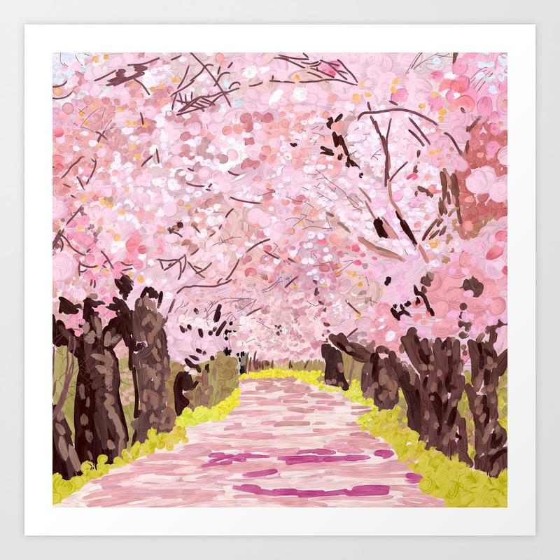 Cherry Blossom Trees Japan Art Print By Notsniw Society6