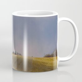 Distant Red Church on a Stormy Day Coffee Mug