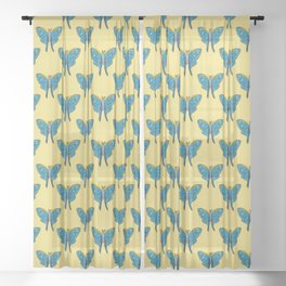 Luna Moth Butterfly Blue and Yellow Sheer Curtain