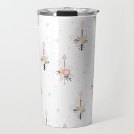Bohemian pastel pink ivory blue hand painted arrows floral Travel Mug