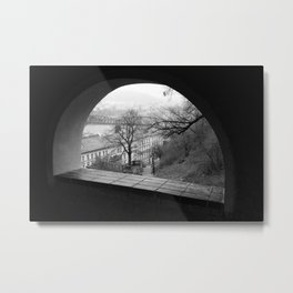 Prague in Winter - A Window at Vyšehrad Metal Print