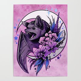 Bat and Orchids Poster