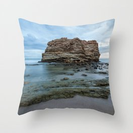 Big rock beach sunset Throw Pillow