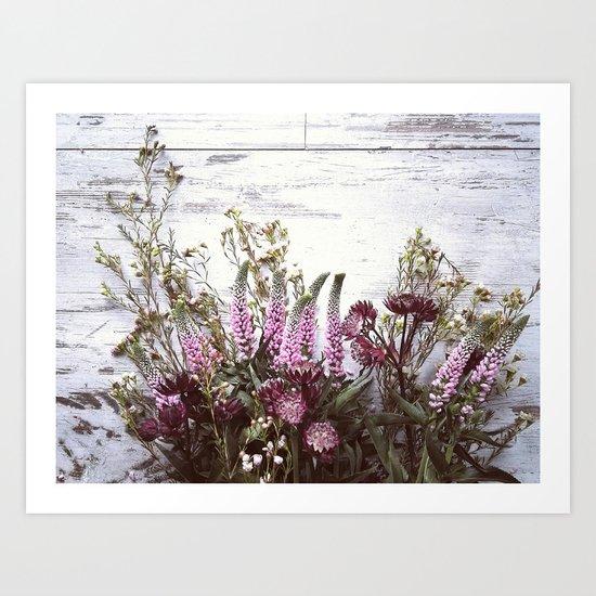 Pink flowers on shabby wood Art Print