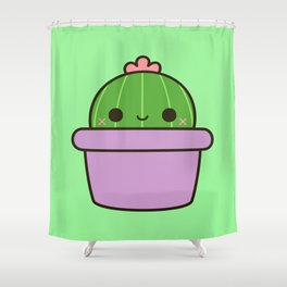 Cute cactus in purple pot Shower Curtain