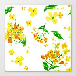 Sunny Watercolor Spring Beautiful Blooming Flowers Canvas Print