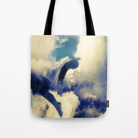 Woman and sky Tote Bag