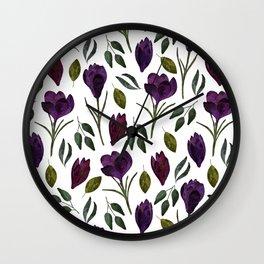 Plum Rose Garden Wall Clock