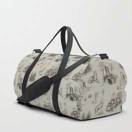 Eurasian Wolf Toile Pattern (Beige and Brown) Duffle Bag