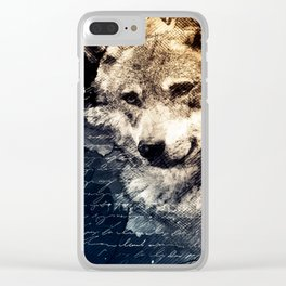 Vintage wolf, Mixed media Wolf Art, Wolf Painting, Wolf Decor, Best Wolf, Cool, Wolf Clear iPhone Case