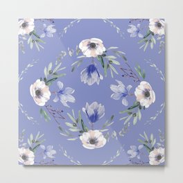 Floral Square Blue Metal Print