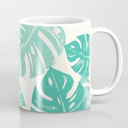 Linocut Monstera Green Coffee Mug