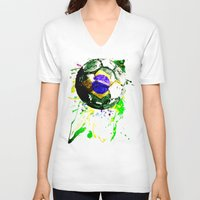 brazil V-neck T-shirts featuring football Brazil by seb mcnulty