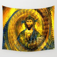 jesus Wall Tapestries featuring Jesus Vintage  by  Agostino Lo Coco
