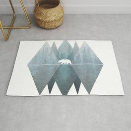 Misty Forest Mountain Bear Rug