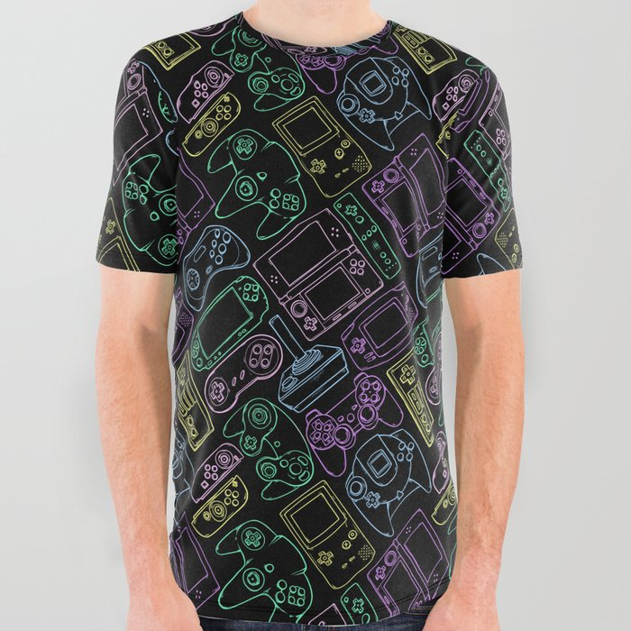 Video_Game_Controllers_in_Neon_Colors_All_Over_Graphic_Tee_by_Spookish_Delight__Large