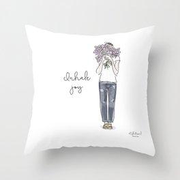Inhale joy Throw Pillow