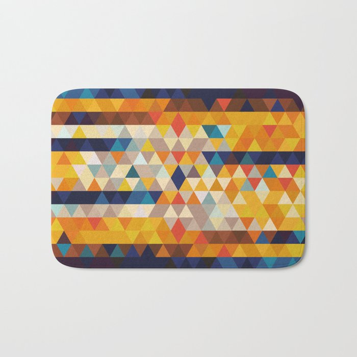 Geometric Triangle - Ethnic Inspired Pattern - Orange, Blue Bath Mat