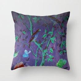 Aubergine & Teal Chinoiserie Throw Pillow