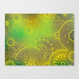 transparent gold zen pattern green gradient Canvas Print