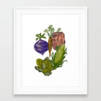 vegetables Framed Art Prints featuring Vegetables by Marcelo Romero