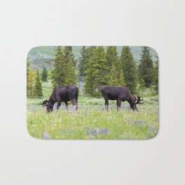 Two Moose Grazing Bath Mat