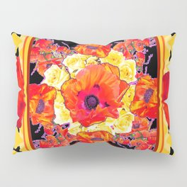 RED POPPIES DECORATIVE FLORAL ABSTRACT Pillow Sham