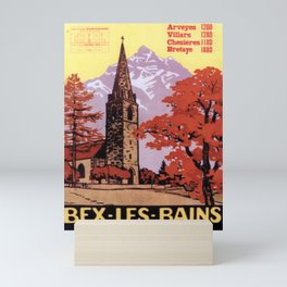 placard bex les bains vallee du rhone suiss bains salins station climaterique horaires 1918 bex Mini Art Print