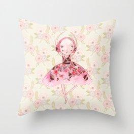 Isabella Bellarina Dancing on Flowers Throw Pillow