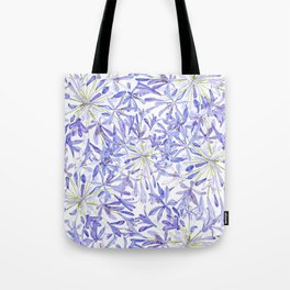 blue purple African lily watercolor painting Tote Bag