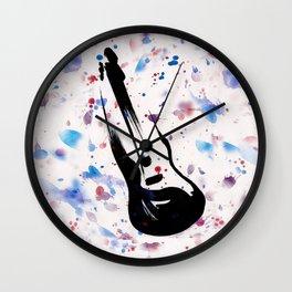 Rock n Roll Guitar No.7 by Kathy Morton Stanion Wall Clock