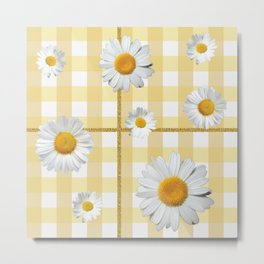 Spring Bloom | Yellow Plaid with Glitter Thread Metal Print