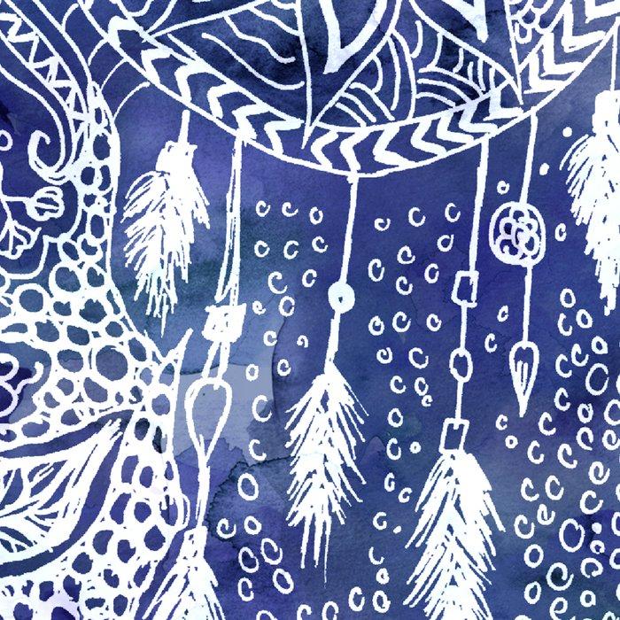 Boho blue dreamcatcher feathers floral illustration Leggings