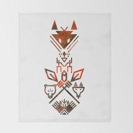 Tribal Sign Animals Wolf Bear Fox Throw Blanket