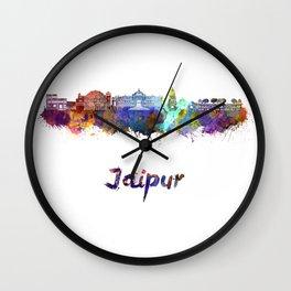 Jaipur skyline in watercolor Wall Clock