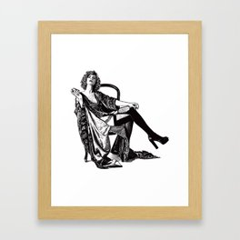Retro Woman Wearing Vintage Lingerie and Drinking from Flask Framed Art Print