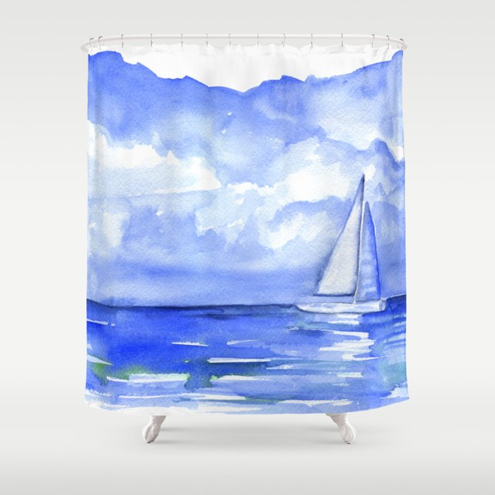 Sailboat On The Ocean Watercolor Shower Curtain By Susanwindsor