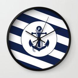 Nautical Anchor Navy Blue & White Stripes Beach Wall Clock
